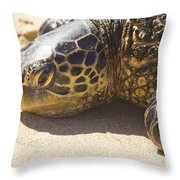 Honu - Hawaiian Sea Turtle Hookipa Beach Maui Hawaii Throw Pillow