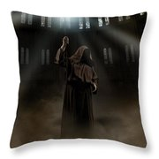 Hooded Man Holding Glowing Wizard Staff  Throw Pillow