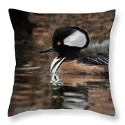 Hooded Merganser 2 Throw Pillow