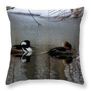 Hooded Merganser Mates Throw Pillow