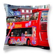 Hop On And Hop Off Bus In Bergen Throw Pillow
