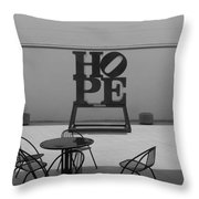 Hope And Chairs In Black And White Throw Pillow