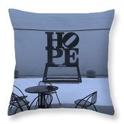Hope And Chairs In Cyan Throw Pillow