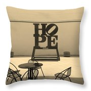 Hope And Chairs In Sepia Throw Pillow