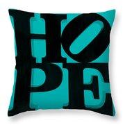 Hope In Light Blue Throw Pillow