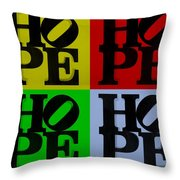 Hope In Quad Colors Throw Pillow