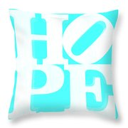 Hope Inverted Aquamarine Throw Pillow