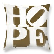 Hope Inverted Brown Throw Pillow