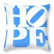 Hope Inverted Light Blue Throw Pillow