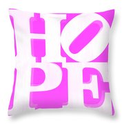 Hope Inverted Pink Throw Pillow