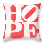 Hope Inverted Red Throw Pillow