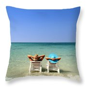 Horizon Blues Throw Pillow