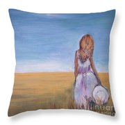 Girl In Wheat Field Throw Pillow