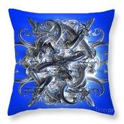 Horned Circle Blue Throw Pillow