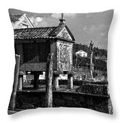 Horreo And Cruceiro In Galicia Bw Throw Pillow