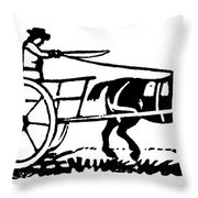 Horse & Cart, 19th Century Throw Pillow