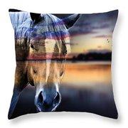 Horse 6 Throw Pillow by Mark Ashkenazi
