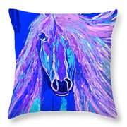 Horse Abstract Blue And Purple Throw Pillow