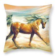 Horse Akalteke Throw Pillow