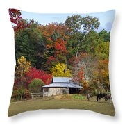 Horse And Barn In The Fall 3 Throw Pillow