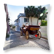 Horse And Buggy Ride St Augustine Throw Pillow by Michelle Wiarda