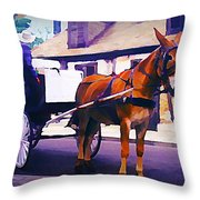 Horse And Carriage In Front Of Lafitte's Blacksmith Shop  Throw Pillow
