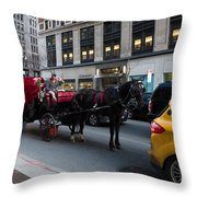 Horse And Carriage Nyc Throw Pillow
