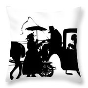 Horse And Carriage Silhouette Throw Pillow