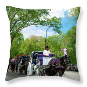 Horse And Carriages Central Park Throw Pillow