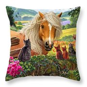 Horse And Cats Throw Pillow