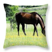 Horse And Flowers Throw Pillow