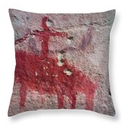 Horse And Rider Cave Painting Throw Pillow