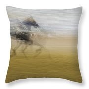 Horse And Sulkie Throw Pillow