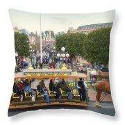 Horse And Trolley Main Street Disneyland 02 Throw Pillow
