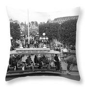 Horse And Trolley Main Street Disneyland Bw Throw Pillow