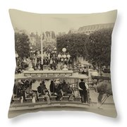Horse And Trolley Main Street Disneyland Heirloom Throw Pillow