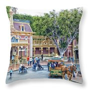 Horse And Trolley Turning Main Street Disneyland 01 Throw Pillow