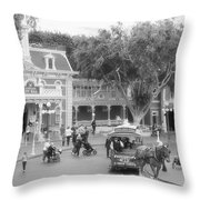 Horse And Trolley Turning Main Street Disneyland Bw Throw Pillow