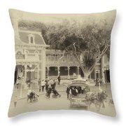 Horse And Trolley Turning Main Street Disneyland Heirloom Throw Pillow
