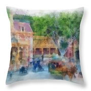 Horse And Trolley Turning Main Street Disneyland Photo Art 01 Throw Pillow