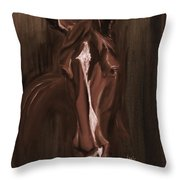 Horse Apple Warm Brown Throw Pillow
