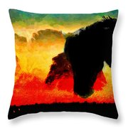Horse At Sunrise Throw Pillow
