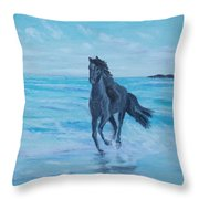 Horse At The Sea Throw Pillow
