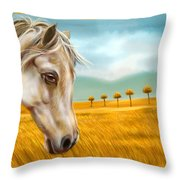 Horse At Yellow Paddy Field Throw Pillow