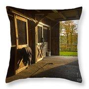 Horse Barn Sunset Throw Pillow