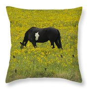 Horse  Birds  And Flowers   #8520 Throw Pillow