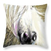 Horse Blowing In The Wind Throw Pillow