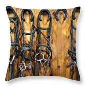 Horse Bridles Hanging In Stable Throw Pillow