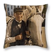 Horse Carriage Driver 3 Throw Pillow