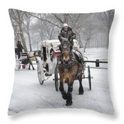 Horse Carriages In Snowy Park Throw Pillow